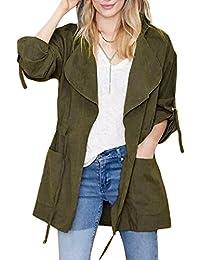 acf9dac79a1b2 Minetom Otoño Chaqueta para mujer Abrigo Manga Larga con Capucha Coat Jacket
