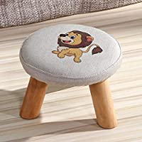 SLH Little Lion Chair Solid Wood Shoes Bench Coffee Table Chair Fabric Fashion Creative Children Adult Small Bench Sofa Chair