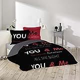 J&K Markets Housse de couette 220x240cm 100% coton Toi & moi - Love