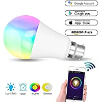Tingkam WiFi B22 Led Smart Bulb mood light, 6 W RGBW Colour Changing Lamp Compatible with Alexa and Google Home, Remote Controlled by Android 4.1 above and IOS 8.0 above devices
