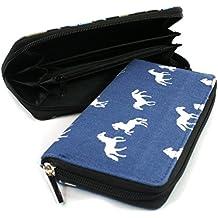 Cavallo bianco in tessuto blu con cerniera lunga portafoglio frizione
