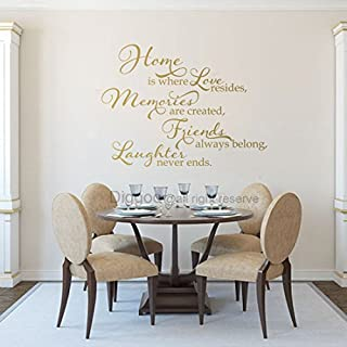 ymot101 Home Is Where Love Resides Memories Are Created Vinyl Quote Home Decor Family Wall Decal Family Saying Family Wall Decal (Gold,29.5 H X 40 W)