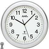 AMS 5956Orologio da parete bagno radio orologio impermeabile Argentato