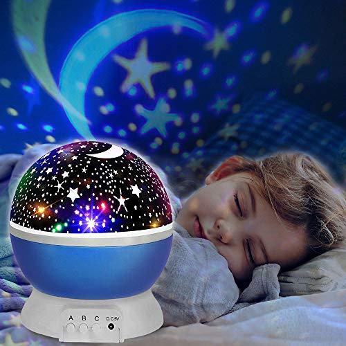 Lámpara de nocturna, innislink estrellas proyector Lámpara Infantiles luz del proyector LED Cosmos Luna Luz nocturna para niños, bebés, regalos de la Navidad, Cuarto de los Niños, Boda - Azul