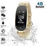 Konnison-09 Reloj de Pulsera Bluetooth IP67 Impermeable Señora Reloj Elegante Moda Mujeres Señoras Monitor de Ritmo cardíaco Gimnasio Rastreador Relojes para Android iOS,Gold
