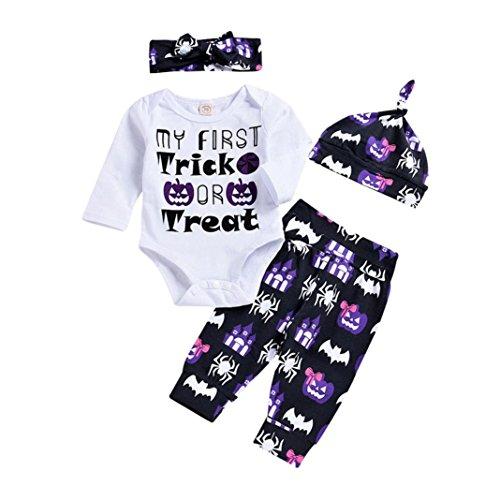 2018 Fashion Halloween Kürbis Kostüm Outfits Mingfa Neugeborene Kleinkind Baby Junge Mädchen Buchstaben Druck Langarm Strampler Hosen Hut Stirnbänder 4 Stück, 12M, weiß, 1 (Fashion Outfits Halloween)