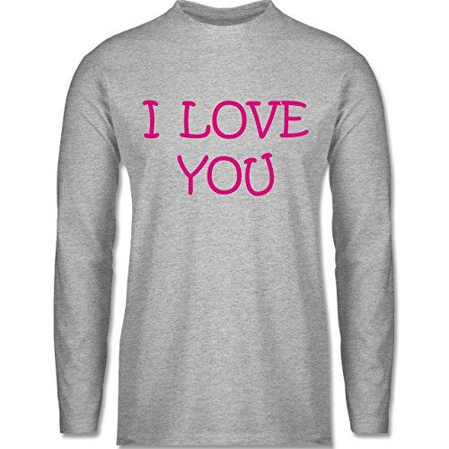 Shirtracer Valentinstag - I Love You - Herren Langarmshirt Grau Meliert