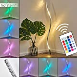 Lámpara LED de pie RGB Saginaw de metal en níquel mate, 1 x LED 9 vatios, 3000 Kelvin, 700 Lumen, estilo moderno con mando a distancia y regulador de color, ideal para salón y dormitorio