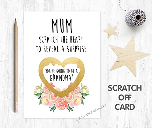 you're going to be a grandma, grandma reveal, pregnancy reveal, I'm pregnant scratch card, pregnancy announcement, pregnancy scratch card, baby reveal, floral