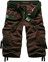 Mochoose Homme Pantalons Courts Coton de L'été Vintage Cargo Travail Casual 3/4 Shorts Multi Pockets Sport et Loisir