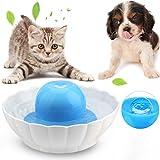 Bebedero Cerámico Gato/Perro Fuente para Mascotas Silencio, 2.1L/74Oz Dispensador de Agua Automático Doble Filtro de Lavavajillas Seguro, Azul & Blanco (Bebedero)