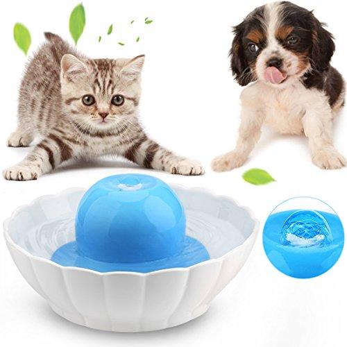 *Keramik Trinkbrunnen für Katzen und Hunde Automatisch Leise Haustier Wasserbrunnen Wasserspender mit Aktivkohlefilter 2.1L Blau und Weiß*