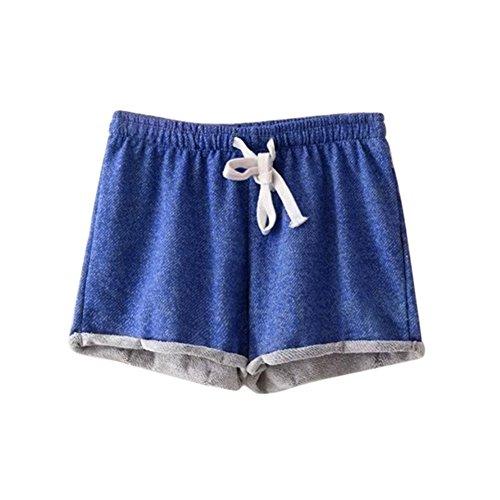 Etosell Femmes Casual De Taille Haute D'ete lache Short Pantalon Bleu