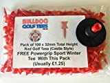 SAVER PACK of 100 BULLDOG GOLF TEES Height 32mm SHORT RED PLASTIC CASTLE TEES