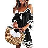 Kleid Kolylong® Damen Elegant Trägerloses Quaste Kurzarm Kleid Retro Schulterfrei Rückenfrei Kleider Kurz Boho Kleid T- shirt Kleid Mini Sommerkleid Strandkleid Party Abendkleid (XXL, Schwarz)