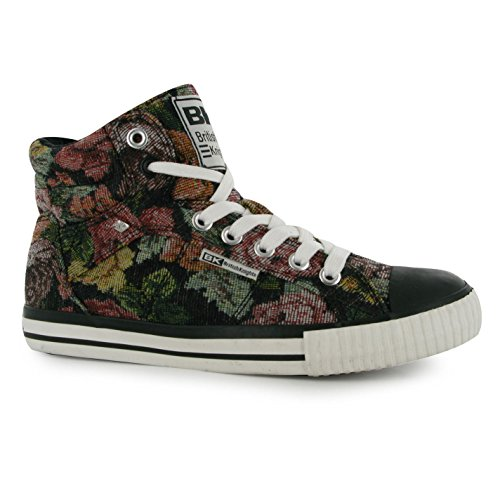British Knights Femmes Dee Toile Chaussures Montantes Baskets Plates Plimsoles Floral Tapestry