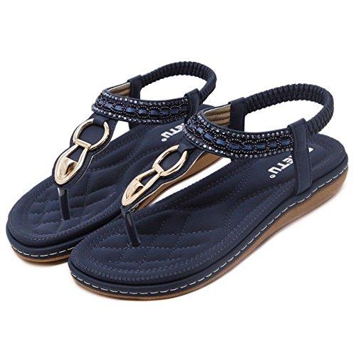 COOLCEPT Damen Mode Slip On Sandalen Slingback Flach Schuhe Blau