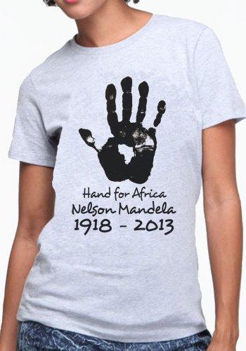 OM3 - Mandela-Hand-for-Africa - Damen T-Shirt Nelson Madiba Apartheid Süd Afrika Peace Frieden, XXL, Grau Meliert