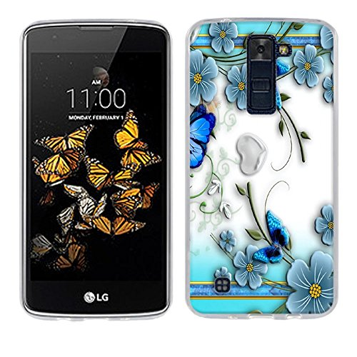 Funda LG K8, Fubaoda [Piccolo fiore viola farfalla] Carcasa Claro Panel Posterior de Bordes Amortiguadores de TPU Blando Funda Carcasa para LG K8