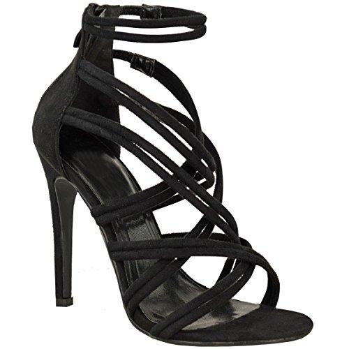NUOVO da donna sandali con cinturino tacco alto OCCASIONI FESTA BALLO SCARPE Celebrità Taglia Nera Pelle Scamosciata