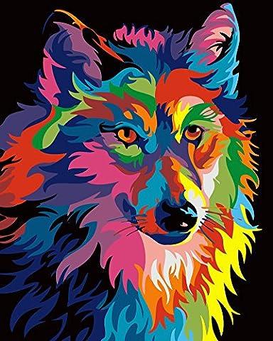 Obella Peinture par numéros Kits issu de la gamme coloré Loup 50x 40cm issu de la gamme Peinture par numéros numériques, peinture à l'huile, sans cadre