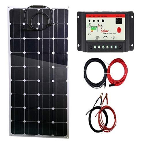 AUECOOR Flexibles Solar-Panel, biegbar, leicht, 100 W, Solarpanel-System-Set mit 10 A Laderegler & Krokodilklemme für Wohnmobil, Camping, Boot, Wohnwagen, und 12 V Akku-Ladegerät