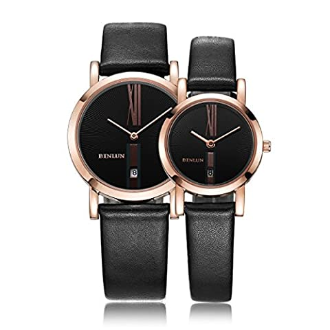 Binlun Couple's Rose Gold Tone Waterproof Pair Leather Wrist Watch with Perpetual Date, 34mm and 25mm
