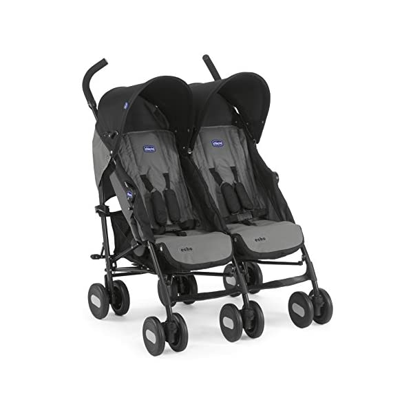Chicco Echo Twin Stroller Coal - Black  With elliptical frame tubes in contemporary angles Features elegant stay clean wheels with repeat logo details to match name seat graphic Lockable front swivel wheels 2