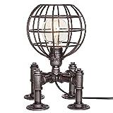 Vintage Industrial Tischlampe Steampunk Tischleuchte Rustikale Wasser Pfeife Stil Nachttisch Schreibtisch Lampe Für Home Study Zimmer Schlafzimmer Bibliothek Hotel Desktop Lights Fußball Light Base ( Color : Silver black )