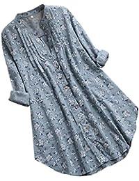 Luckycat Mujeres Ocasionales Manga Larga Color sólido Lino Cuello En V Dobladillo Irregular De Decoracion Camisas Oficina Elegante Tallas Grandes Playa