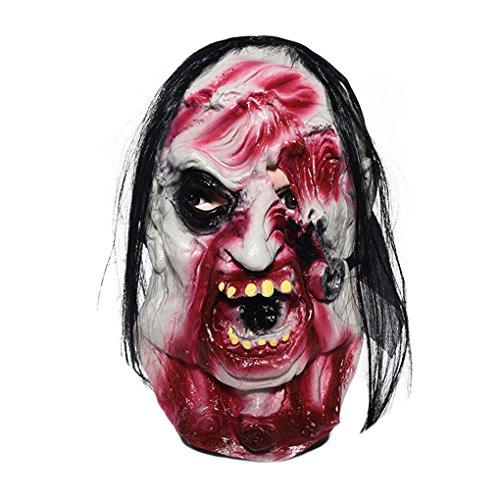 Furchtsame Zombie Maske mit Haar Blut Gesicht Latex Masken f¨¹r Halloween Masquerade Kost¨¹m Party Requisiten