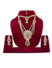 BAAL Gold Plated Diamond Necklace Set For Women, Golden, 20 Grams, Pack Of 1