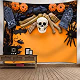 SEWORLD Halloween Mond Kürbis Tapisserie Zimmer Tagesdecke Wand Kunst Hänge Home Decor Grand(A,130x150cm)
