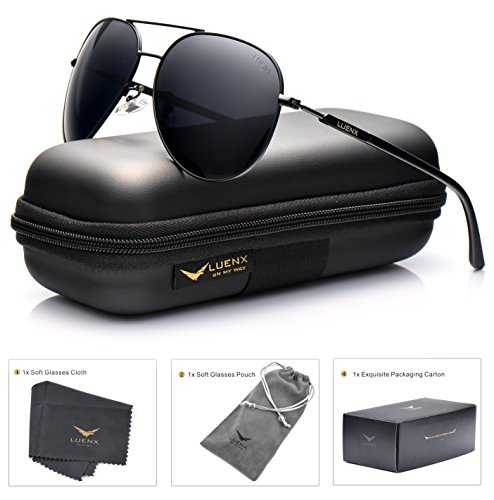 LUENX Hombre gafas de sol Aviador polarizado de conducción con el caso   UV 400 Protección 60mm