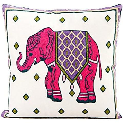 JXLOULAN Patrón de dibujos animados lindo del elefante estilo bohemio tridimensional-lino bordado fundas de colchón tiro cuadrado de la manera decoración funda de almohada funda de almohada para el hogar sofá cama decorativa 45 x 45 cm (18 x 18 pulgadas) (Elefante