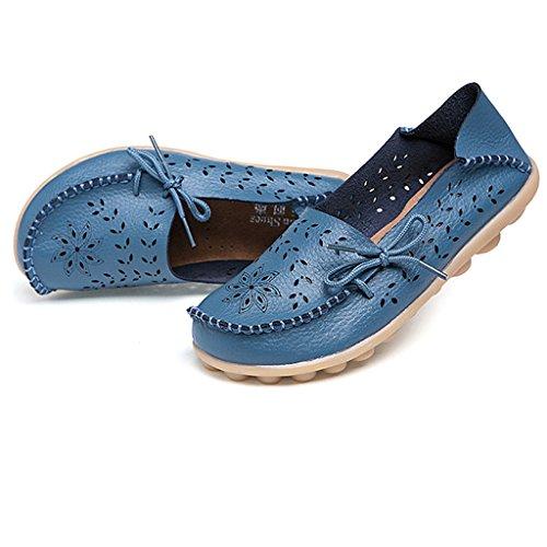 Oriskey Mocassins Femme Cuir Loafers Casual Bateau Chaussures de Ville Flats Bleu