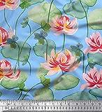 Soimoi Blau Viskose Chiffon Stoff Blätter & Lotus Blume