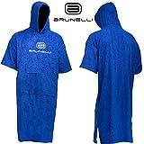 Brunelli Poncho Überzieher Bademantel Handtuch Schwimmen Kite Surfen Blue 100% Baumwolle