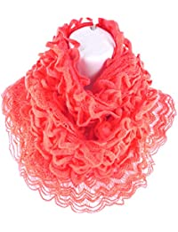 Pleated Lace Fringed Infinity Circle Loop Figure Eight Endless Scarf Wrap