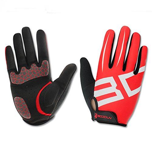 Gants de Cyclisme Velo VTT Moto pour Automne Hiver - Noir et Rouge - Unisex