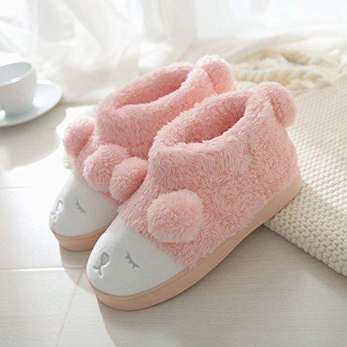 DogHaccd pantofole,Inverno carino spesse pantofole di cotone di uomini e di donne con inverno caldo giovane indoor home pantofole Meng volto - rosso di acqua