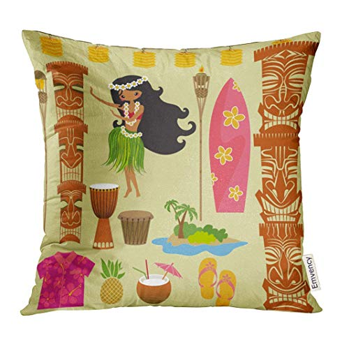 uau Hawaii Symbols and Including Hula Dancer Tiki Gods Totem Pole Drums Torches Hawaiian Party Decorative Pillow Case Home Decor Square 18x18 Inches Pillowcase ()