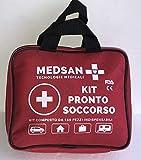 MEDSAN Kit Pronto Soccorso Professionale 150 Pezzi Indispensabili per la Prima Medicazione. Istruzioni in Italiano. Ideale per Casa, Auto, Moto, Campeggio, Viaggio, Lavoro, Barca, Sport, Escursioni.