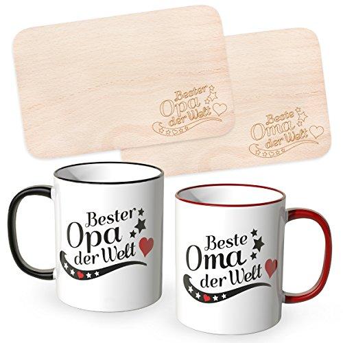 WANDKINGS Frühstücksbrettchen mit Gravur Beste Oma der Welt und Bester Opa der Welt mit dazugehörigen Tassen im Set, Ideales Geschenk für die Großeltern