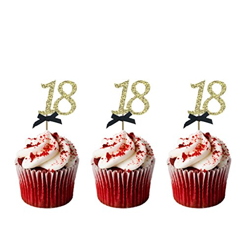 LissieLou Number 18Birthday Cupcake Toppers-18th Birthday Cake Džcor-Pack of 10 Gold with Black