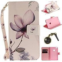 Laoke Schutzhülle für Huawei P8Lite, Klapphülle, hübsch, charakteristisch, sehr hoher Schutz, gute Qualität, Polyurethan-Kunstleder, Kartenfach, kratzfest, Smart Case für Huawei P8Lite (+ Staubstöpsel) 1