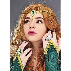 Sancto Tocado de Corona Medieval Reina Verde Joya
