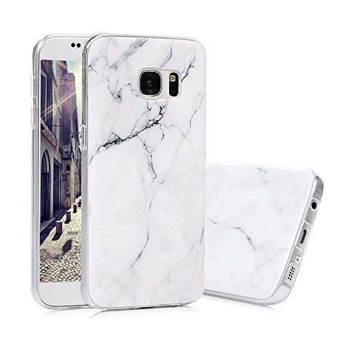 S7 Marmor Hülle, KASOS Marble Handyhülle : Silikon Case Weich TPU Huelle mit IMD Technologie für Samsung Galaxy S7, Weiß