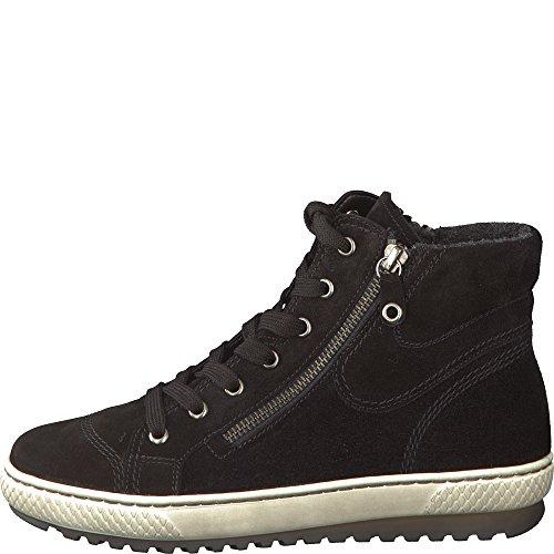 Gabor Damenschuhe 73.754.17 Damen Sneaker, Schnürer, Schnürhalbschuhe, mit Reißverschluss, in Übergrößen, mit OPTIFIT- Wechselfußbett, 42 EU, Schwarz