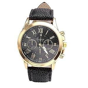 Damen Herren Mode Beiläufig Uhren Römische Ziffern Kunstleder analoge Quarz Armbanduhr Uhr Groveerble